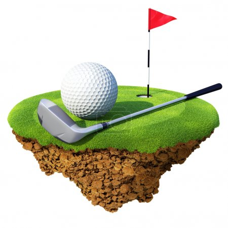 Golf club, ball, flagstick and hole based on little planet. Concept for golf club or competition design