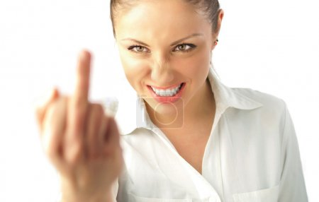 Photo pour Attractive girl showing middle finger (business isolated on white background series) - image libre de droit