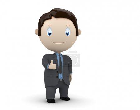 Photo pour Super ! Personnages sociaux 3D : homme d'affaires gros doigt. Nouvelle collection sans cesse croissante d'images multifonctions uniques et expressives . - image libre de droit