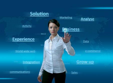 Photo pour Fille de Web 2.0. Nuage de mots, en appuyant sur l'entreprise. concept de pures technologies nouvelles, trouver la bonne solution, bonne intégration, acquérir de l'expérience de l'entreprise, ventes en grandissant et bien plus encore - image libre de droit