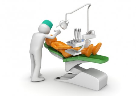 Dentist and patient in dental chair