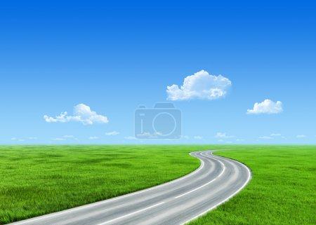 Photo pour Route 7000px très détaillée sur le champ d'herbe - collection nature - image libre de droit