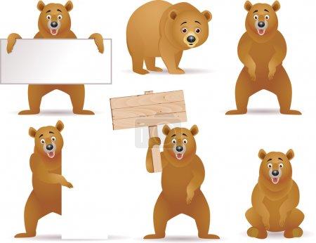 Illustration pour Illustration vectorielle de la collection de dessins animés ours - image libre de droit