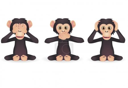 Illustration for Vector illustration of tree wise monkey - Royalty Free Image