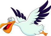 Vector Illustration Of Pelican Cartoon Flying