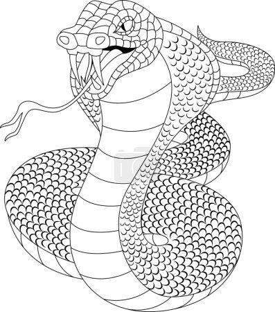 Illustration pour Illustration vectorielle de la bande dessinée de Cobra en colère - image libre de droit