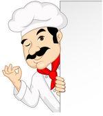 Chef-Cartoon mit leere Zeichen