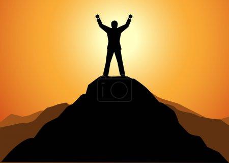 Erfolgsunternehmer, der auf einem Berg steht