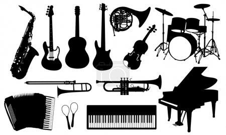Illustration pour Ensemble d'instruments de musique isolé - image libre de droit