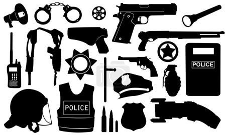 Illustration pour Ensemble de matériel de police isolé sur blanc - image libre de droit