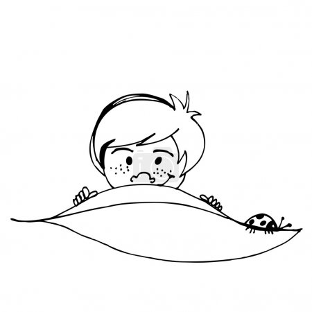 Cute boy with leaf spring illustration