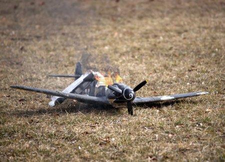 World war II crashed and burning airplane