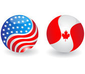 USA and Canada flags globe illustration
