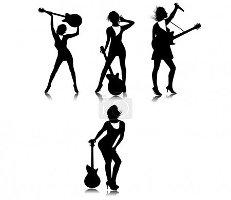 The silhouettes of the girl with a guitar.Vector