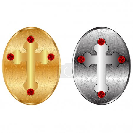 Religious crosses into the metal frame.Vector