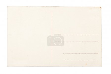 Vintage blank postcard isolated on white background.