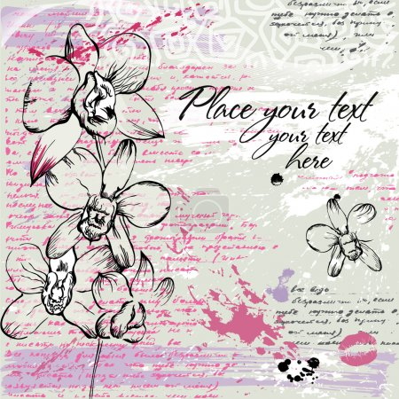 Illustration for Textured background with Orchid and calligraphy in watercolor effect in pastel colors - Royalty Free Image