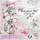 Textured background with Orchid and calligraphy in watercolor effect in pastel colors