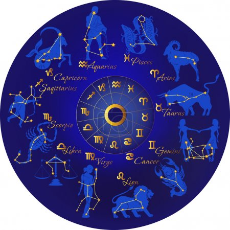Illustration for Zodiac with constellations and zodiac signs - Royalty Free Image
