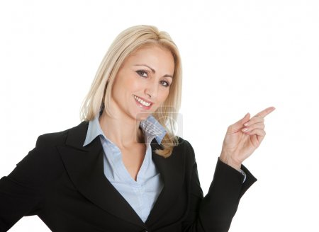 Photo for Portrait of beautiful sucessful businesswoman. Isolated on white - Royalty Free Image