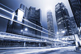 Traffic with blur light through city at night