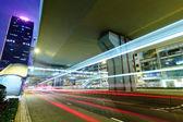 City night traffic light trails