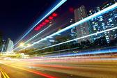 Modern urban traffic at night