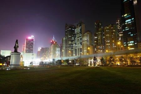 Photo for Hong Kong downtown city at night - Royalty Free Image