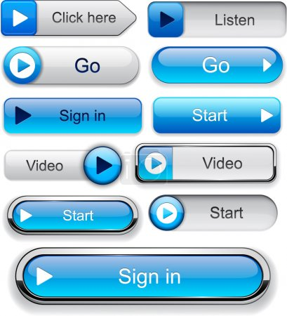 Illustration for Play blue web buttons for website or app. Vector eps10. - Royalty Free Image