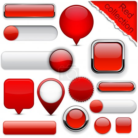 Illustration for Blank red web buttons for website or app. Vector eps10. - Royalty Free Image