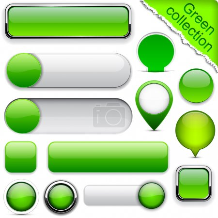 Illustration for Blank green web buttons for website or app. Vector eps10. - Royalty Free Image