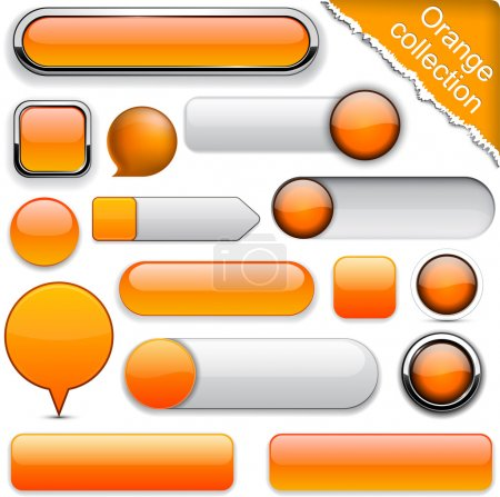 Illustration for Blank orange web buttons for website or app. Vector eps10. - Royalty Free Image