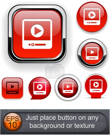 Illustration for Video web buttons for website or app. Vector eps10. - Royalty Free Image