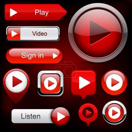Illustration pour Jouer les boutons rouge pour site Web ou App. vecteur eps10. - image libre de droit