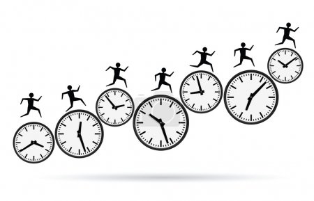 Illustration for Vector illustrations of busy concepts, running out of time. - Royalty Free Image