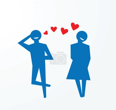 Illustration for To illustrate concepts of falling in love, couples happily smiling. - Royalty Free Image