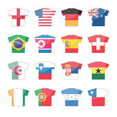 32 countries flags icons in jersey design for international games set 2 of 2