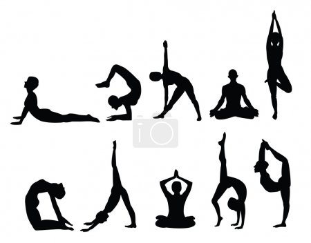 Yoga pose silhouettes, in various poses. Vector fo...