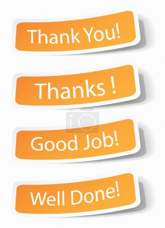 Illustration for Thank you notes as stickers with shadow effects, vector illustrations in eps10. - Royalty Free Image