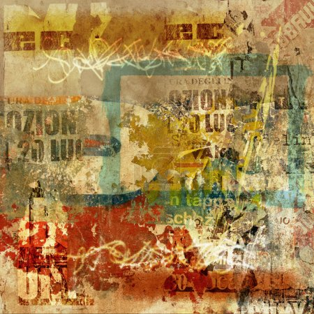 Photo pour Fond de mur de grunge avec vieilles affiches déchirées et graffiti - image libre de droit
