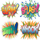 A Selection of Comic Book Exclamations and Action Word IllustrationsBlam SplashZoom Whack