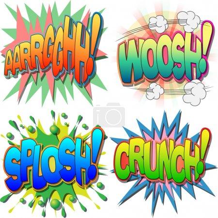 Illustration pour Une sélection de bande dessinée exclamations et mots d'action, argh, woosh, splosh, crunch - image libre de droit