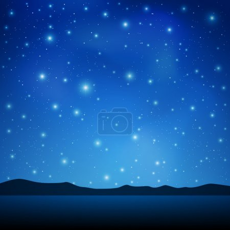 Illustration for A Blue Night Sky with lots of Stars - Royalty Free Image