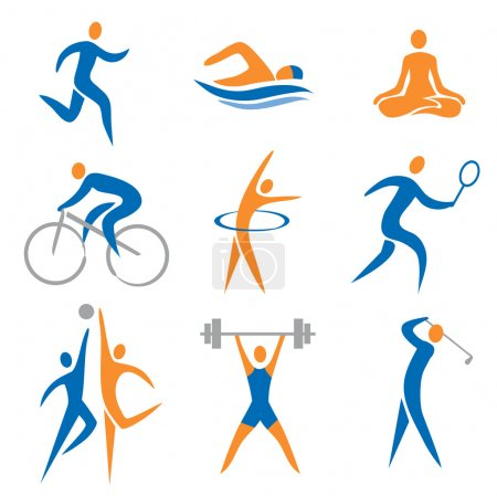 Illustration for Set of sport, fitness icons. Vector illustration. - Royalty Free Image
