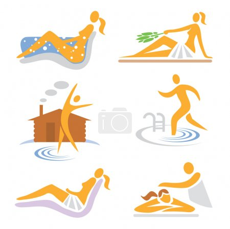 Illustration for Set of wellness, sauna, spa, massage icons. Vector illustration. - Royalty Free Image