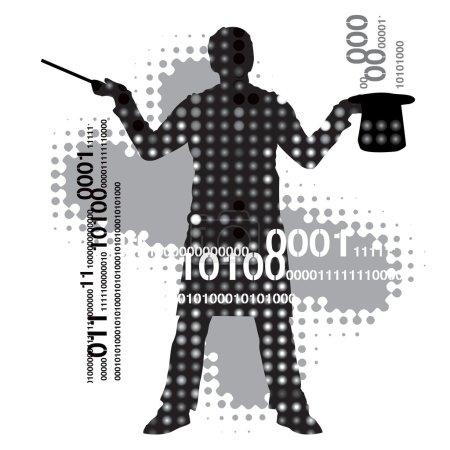 Illustration pour Silhouette de magicien sur fond abstrait . - image libre de droit