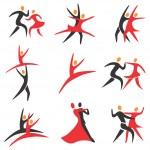 Set of ballroom, disco, ballet, dance colorful ico...