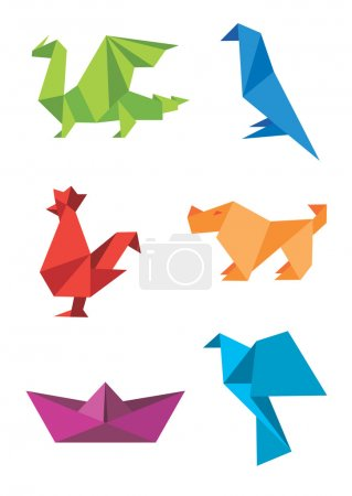 Illustration for Set of origami colorful icons, animals and boat. Vector illustration. - Royalty Free Image