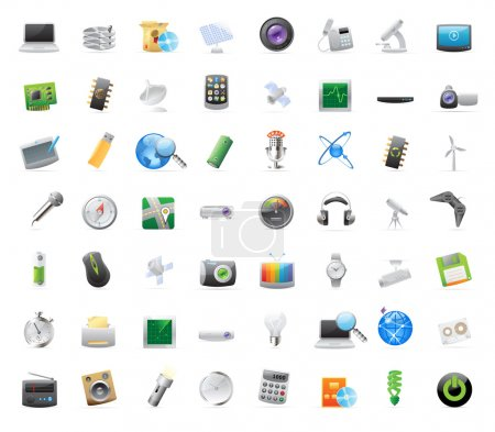 Illustration for 56 detailed vector icons for techology and devices. - Royalty Free Image