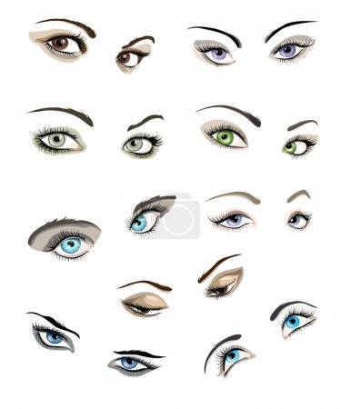 Illustration for Set of 9 beautiful glamour woman's eyes and eyebrows. - Royalty Free Image